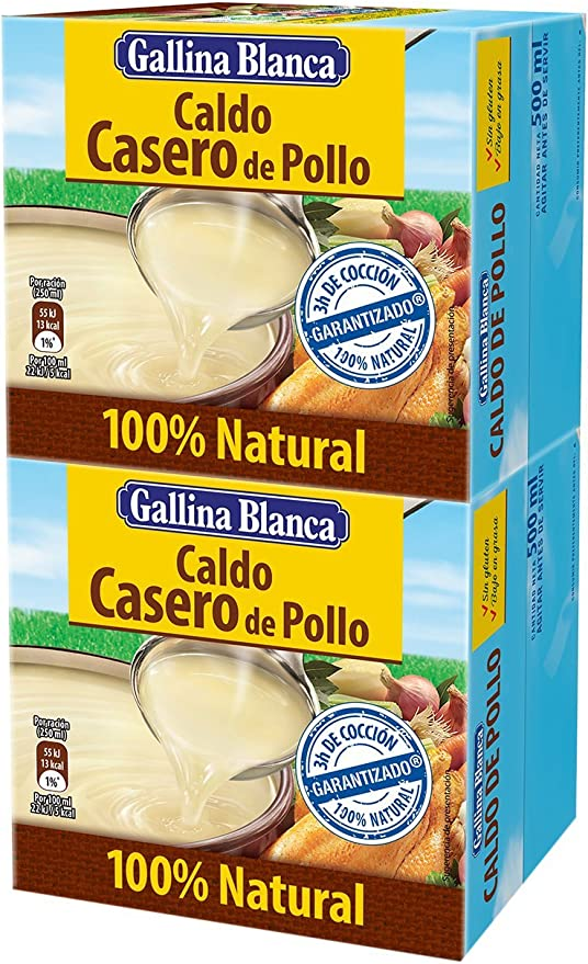 Gallina Blanca - Caldo Casero De Pollo 100% Natural, Pack De Dos ...