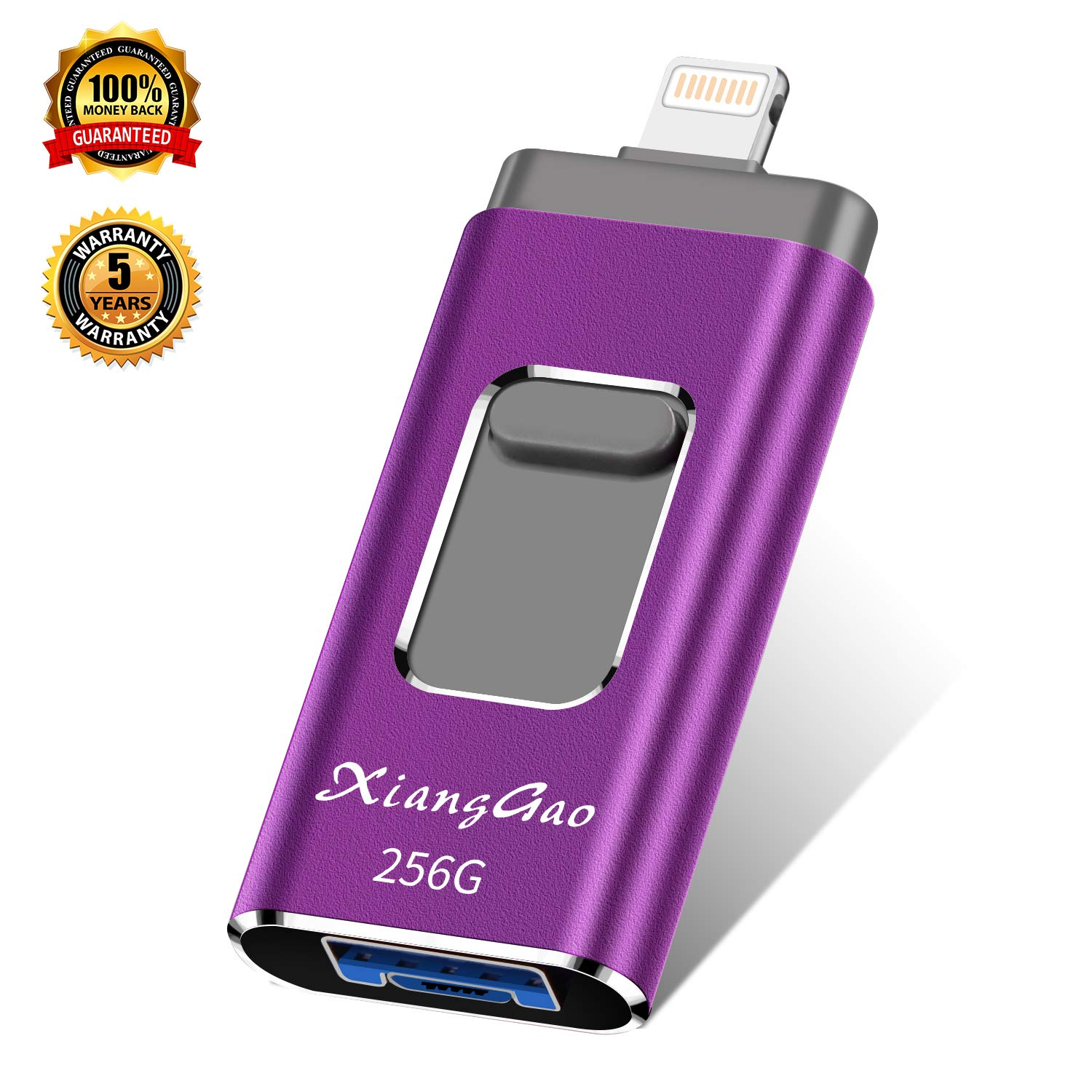 iOS Flash Drive for iPhone Photo Stick 256GB XiangGao Memory Stick USB 3.0 Flash Drive Lightning Thumb Drive for iPhone iPad Android and Computers (purple-256gb)