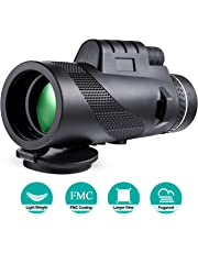 Monocular Telescope 40x60 High Power Waterproof Monocular with Smartphone Adapter & Tripod for Bird Watching Hunting Camping Travelling Wildlife Game