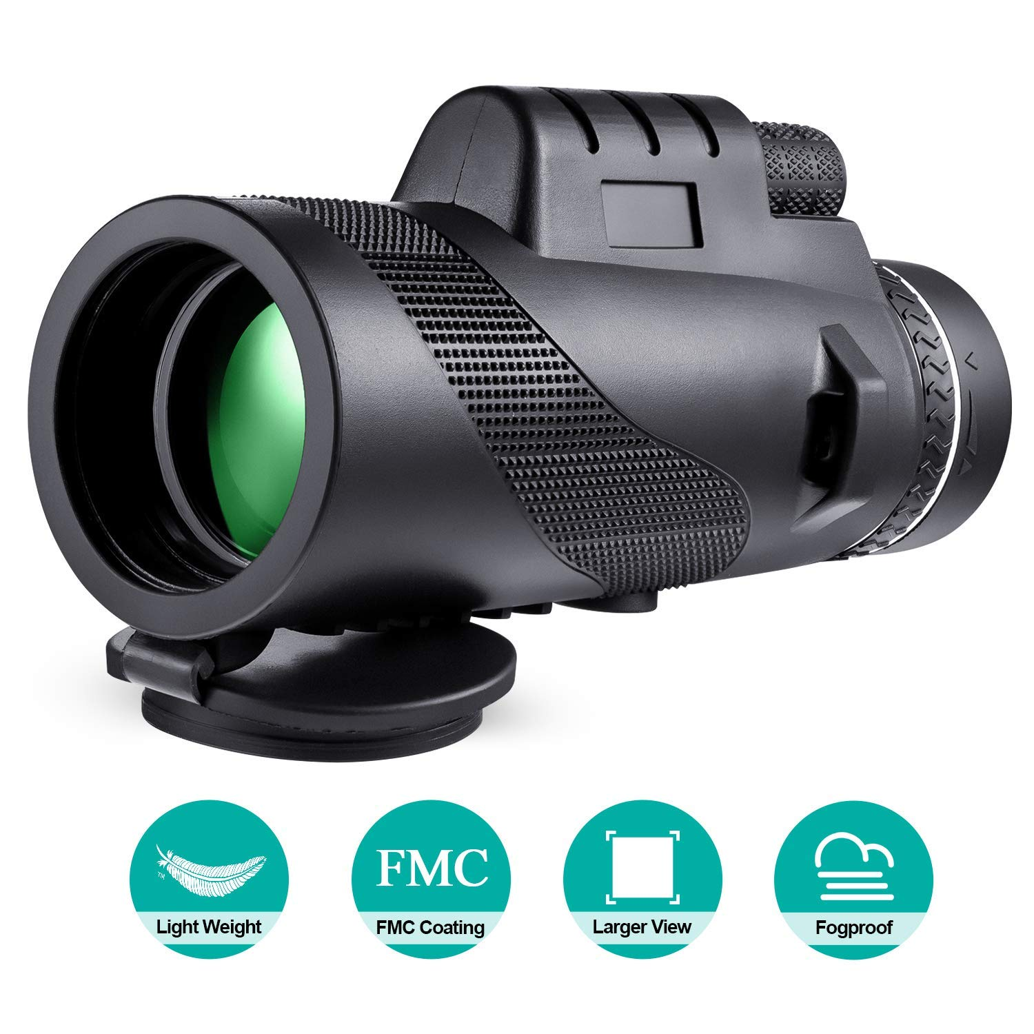 Monocular Telescope, 40x60 High Powered Monocular with Smartphone Adapter & Tripod for Bird Watching-Black