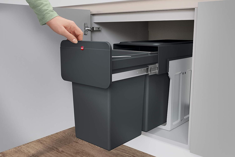 HAILO Einbau-Mülleimer: Mülltrennung für Küchen-Unterschrank   Duo-Trennsystem 17x17 Liter mit Vollauszug  Montage in wenigen Sekunden   EcoLine