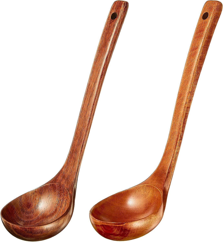 2 Pieces Wooden Ladle Soup Spoon Long Handle Ladle Cookware for Cooking Kitchen Home Restaurant