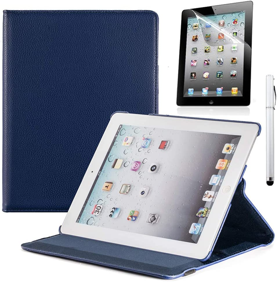 RUBAN iPad 2/3/4 Case - Multiple Angles Stand Smart Protective Cover for iPad with Retina Display (iPad 4th Gen),iPad 3 / iPad 2 (Automatic Wake/Sleep Feature) with Screen Protector - Navy Blue