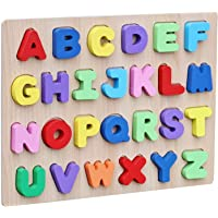 R H lifestyle 3D Wooden Colorful Puzzle Inset Board Educational Early Learning Toy for Kids Development Gift for Boys and Girls (Alphabet A-Z)