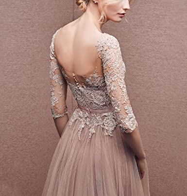 sekitoba-japan.inc Applique Tulle 3/4 Sleeves Long Prom Dresses at Amazon Womens Clothing store: