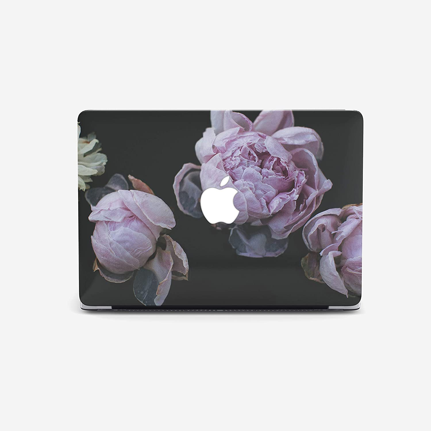 Purple Peony on Black Macbook Case for Macbook Air 13 inch, Macbook Pro 13 inch, Macbook Pro 15 inch, Macbook Pro, Macbook Air