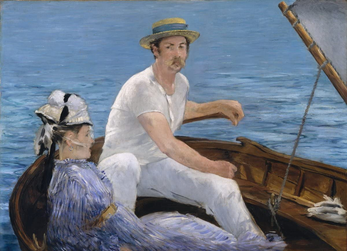 Berkin Arts Edouard Manet Giclee Print On Canvas-Famous Paintings Fine Art Poster-Reproduction Wall Decor(Boating) Large Size 31.5 x 23inches