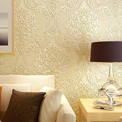 Sogar Stampa In Rilievo Non Tessuto Carta Da Parati Sfondi 3d Sticker Murale Adesivi Rotolo Casa Giallo Albicocca Amazon It Casa E Cucina