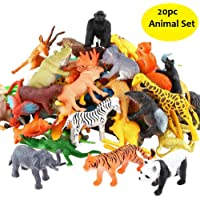 SaleOn™ 20pc Wildlife Model Children Puzzle Early Education Gift Mini Jungle Animal Toy Set Realistic Animal Figures Toys for Kids , Animal Toy Set Play for Kids (1215)