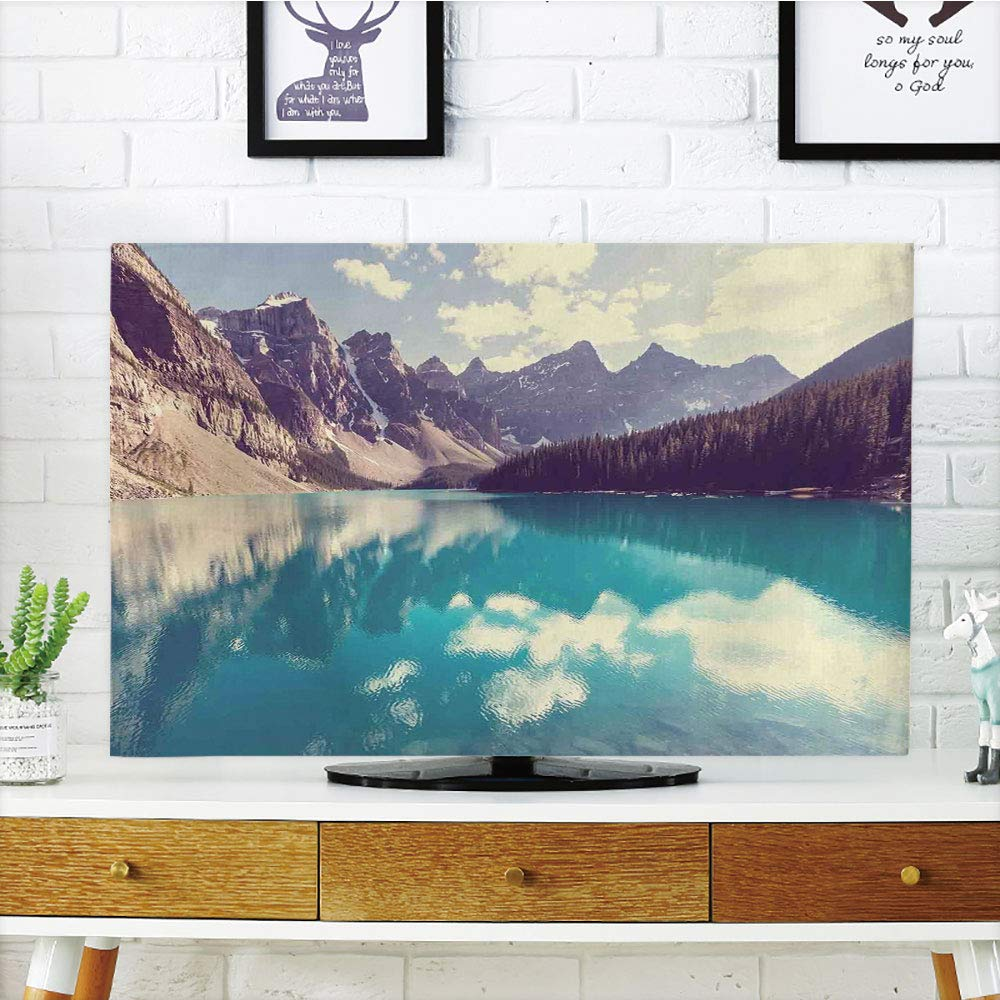 LCD TV dust Cover Customizable,Landscape,Moraine Lake in Banff National Park in Canada High Peaks and Trees Image,Aqua Tan White,Graph Customization Design Compatible 65'' TV