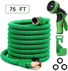 """Yvan 75FT Expandable Garden Hose,Upgraded Leakproof Lightweight Flexible Water Hose with 9 Function Spray Hose Nozzle,Double Latex Core,3/4"""" Solid Brass Fittings,Extra Strength Fabric"""