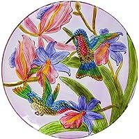 Evergreen Vibrant Hummingbird Glass Birdbath, 18 inches