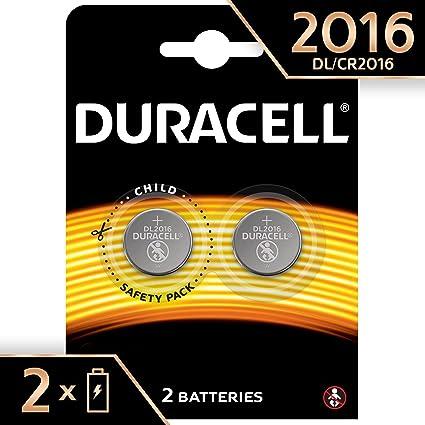 Duracell 2016 - Pila de botón de litio 3V, diseñada para dispositivos electrónicos, 2 unidades, cr 2016