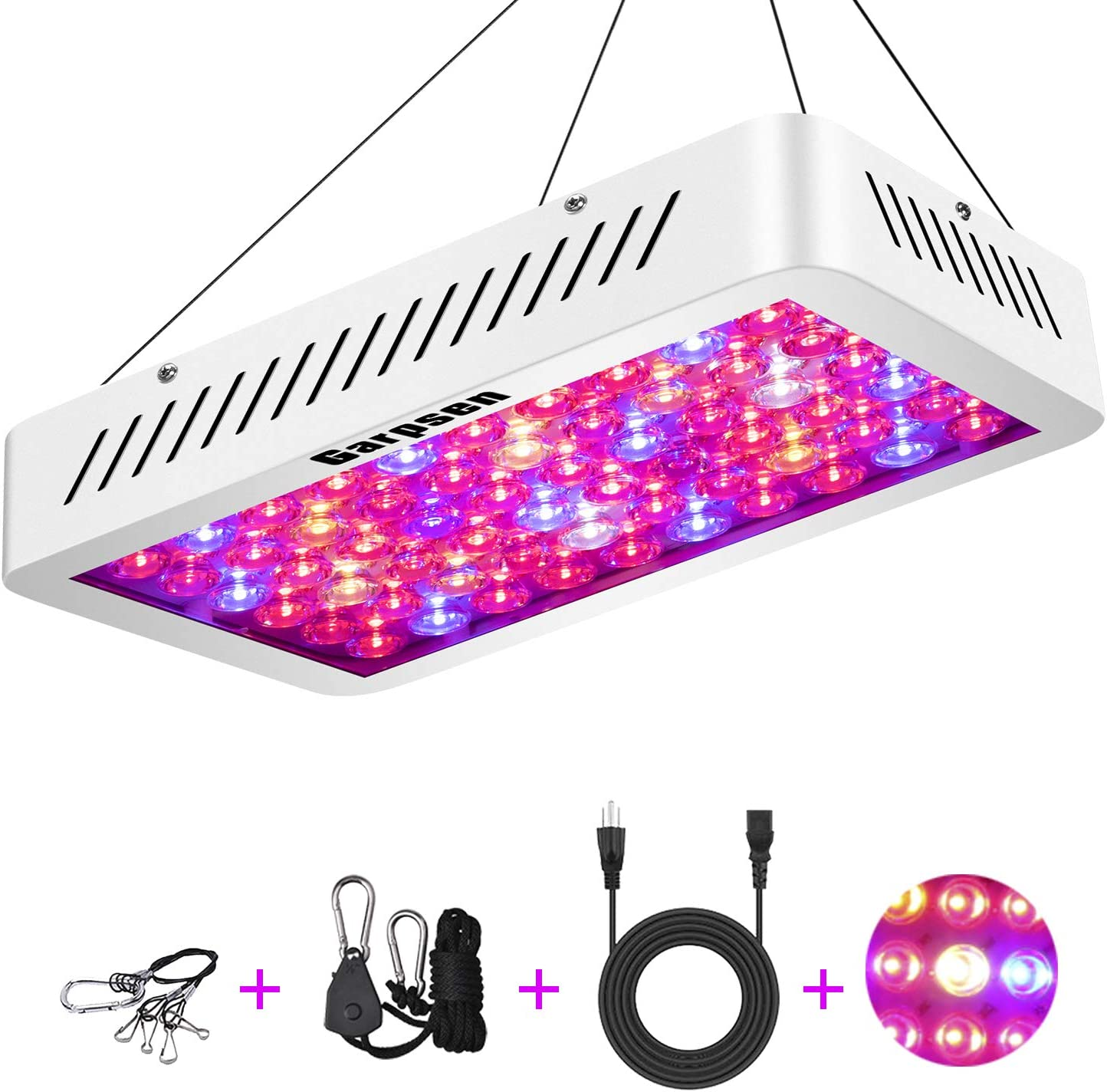 600W Optical Lens LED Grow Light Full Spectrum Garpsen C600 Plant Grow Lamp with Daisy Chain for Indoor Greenhouse Hydroponic Plants Veg and Flower