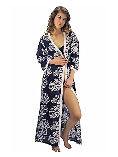 f4bbf4b470b7 Luxury Divas Black & White Tropical Print Long Cover Up at Amazon Women's  Clothing store: