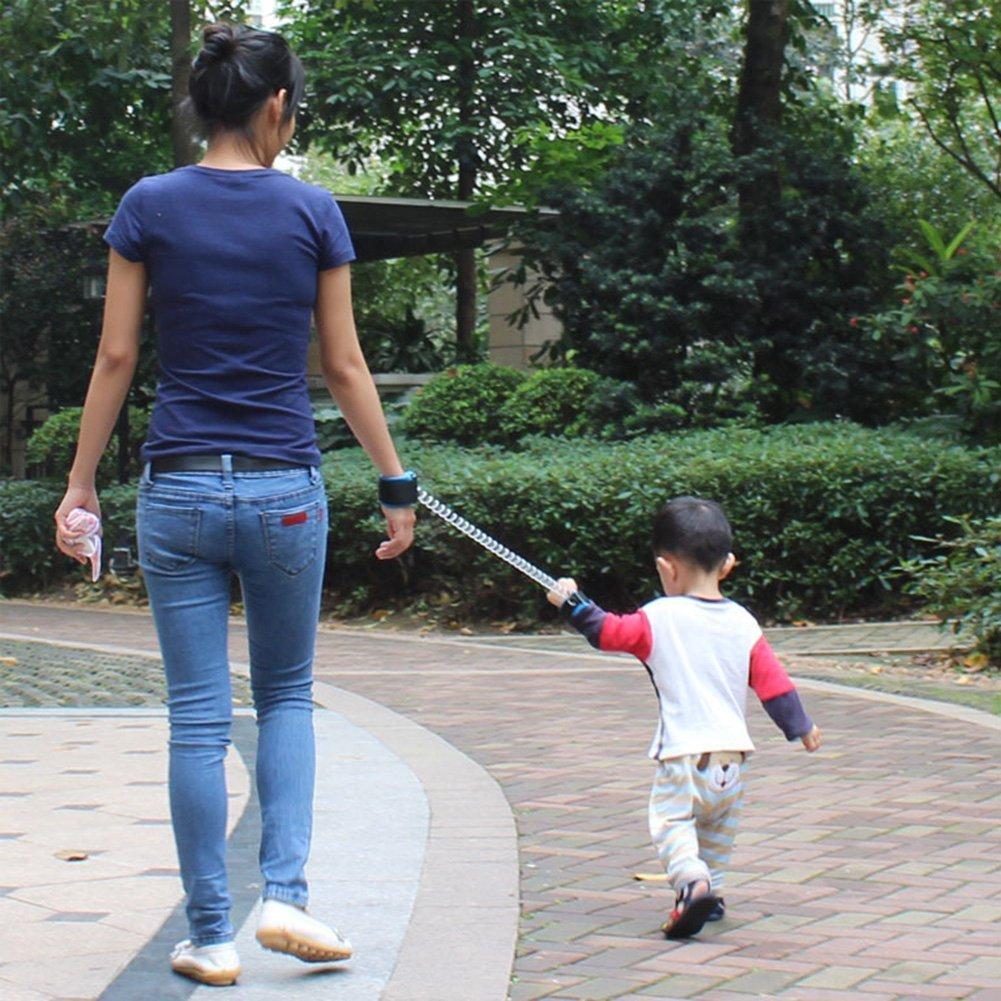 Bestland Baby Kinder Anti-Verloren Sicherheit Handgelenk Link Verstellbare Handgelenkschlaufen Gehender Handgurt Rein Harness Sicherheit Elastisches Drahtseil 1.5m, Blau