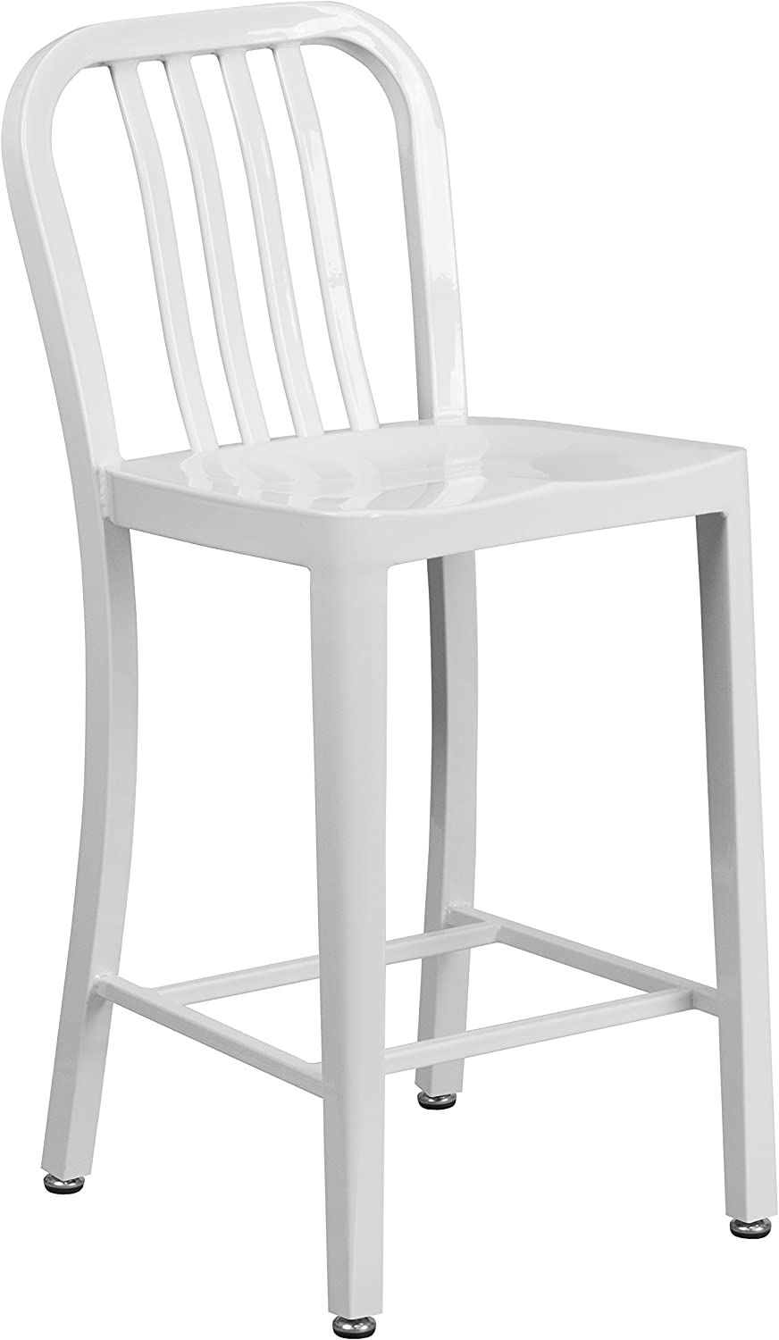 "Flash Furniture Commercial Grade 24"" High White Metal Indoor-Outdoor Counter Height Stool with Vertical Slat Back"