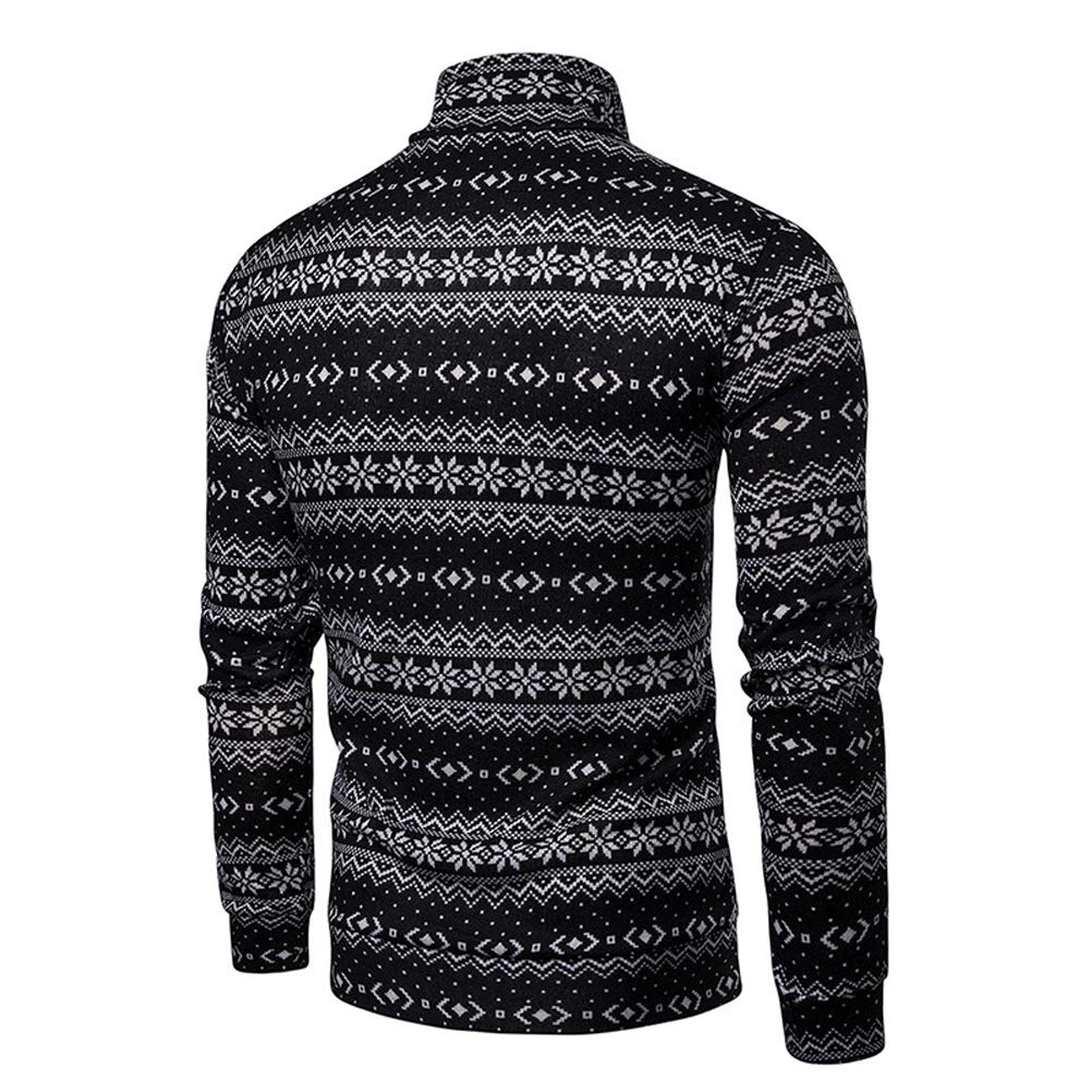 Heartell Christmas Mens Button Up Turtleneck Sweater Snowflake Contrast Color Sweater