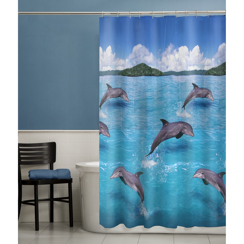 Amazon.com: MAYTEX Splash Dolphin PEVA Vinyl Shower Curtain, Blue ...