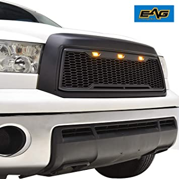 Matte Black EAG Replacement Upper Grille Front Grill with Amber LED Lights Fit for 10-13 Toyota Tundra