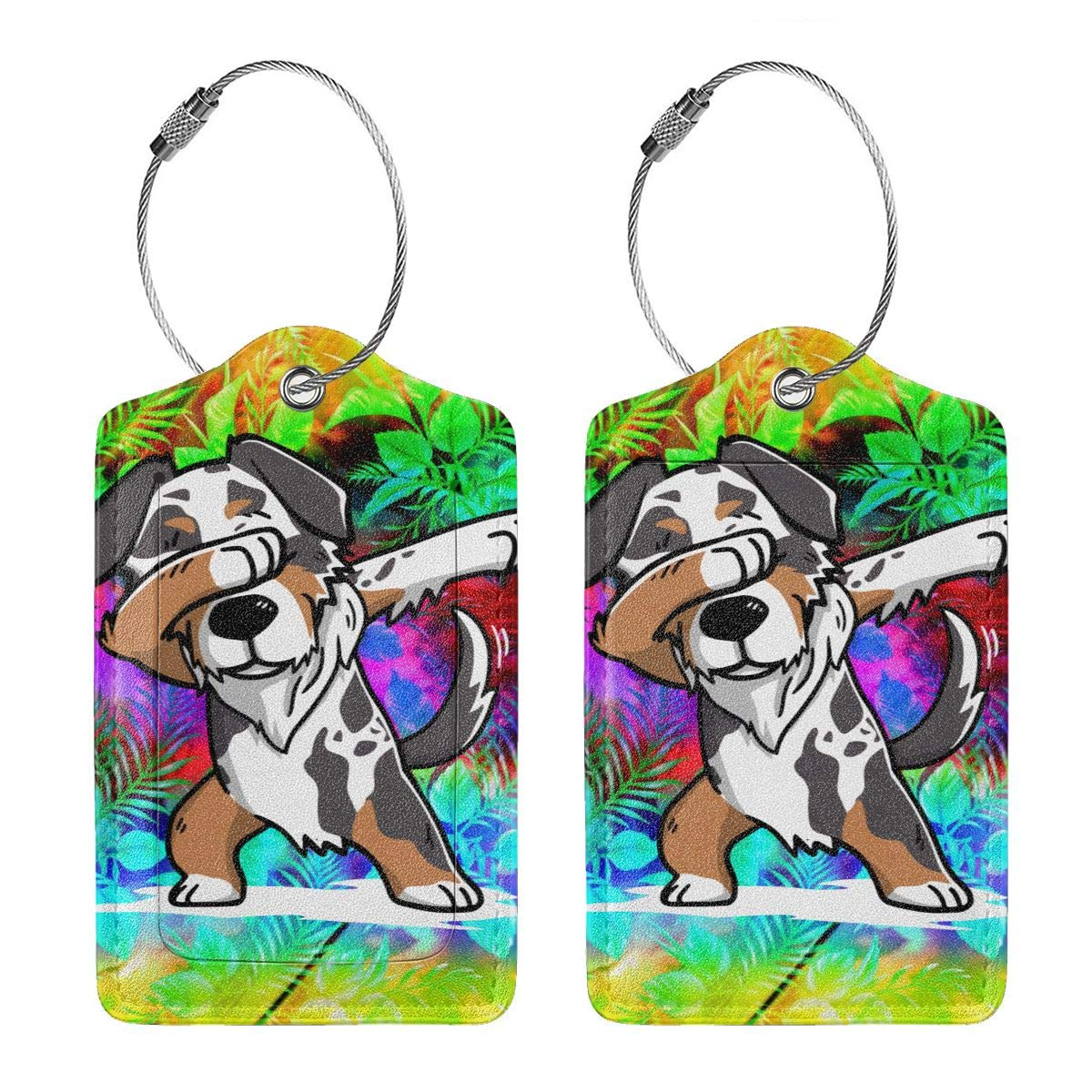 Funny Dabbing Australian Shepherd Travel Luggage Tags With Full Privacy Cover Leather Case And Stainless Steel Loop