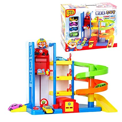 Amazon com: PORORO Parking Lot Playset / Elevator 3 Story Building