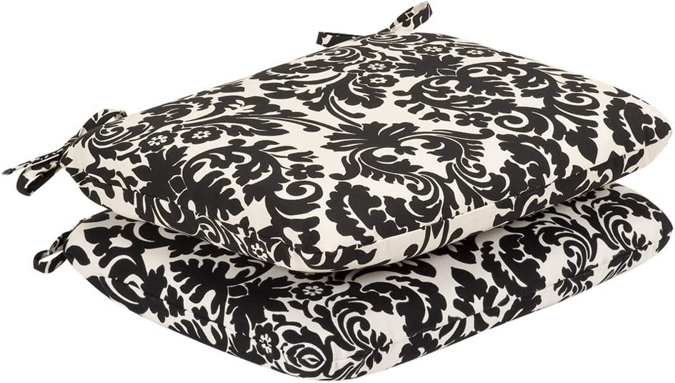 Pillow Perfect Indoor Outdoor Black Beige Damask Seat Cushion, Rounded, 2-Pack