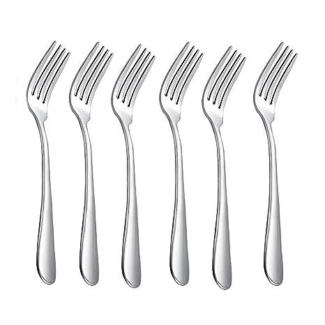HornTide 6-Piece Dinner Forks Set Tenedores 4-Tines Tabla Tenedor cubiertos de acero
