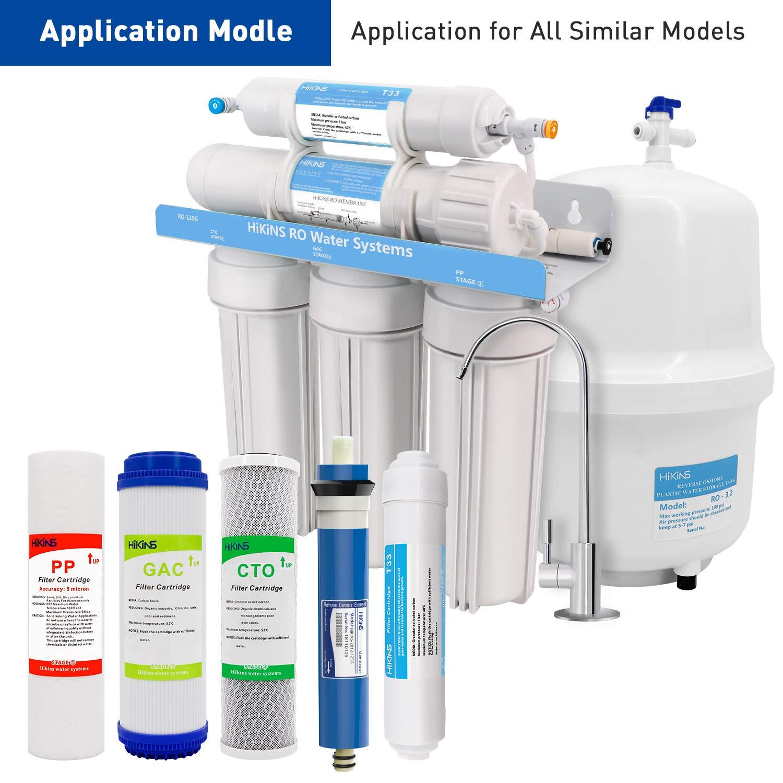 HiKiNS Snap-on-RO-Membranfilter f/ür die 4-stufige RO-100GPD-Umkehrosmose-Wasserfiltrationsanlage