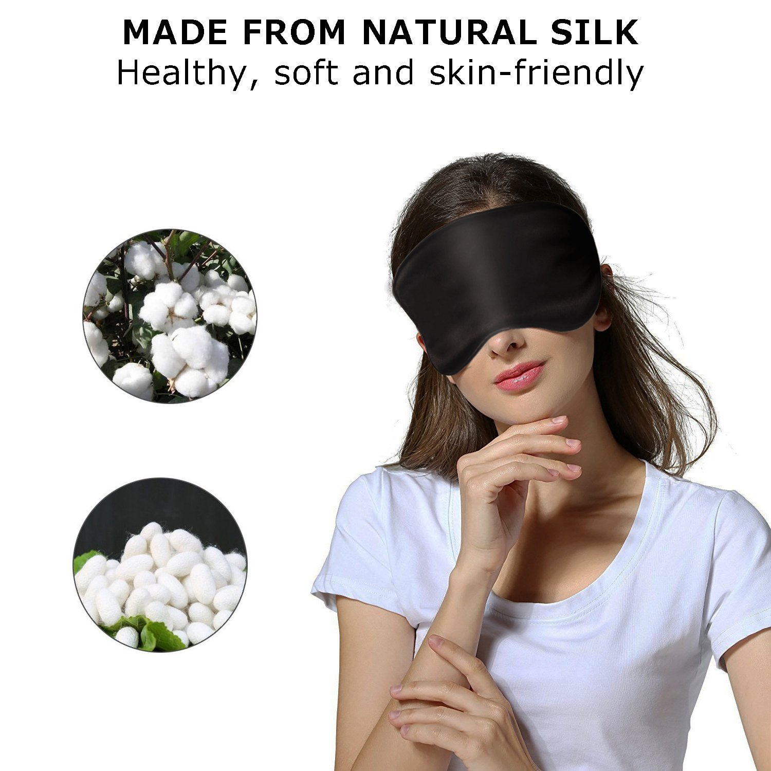 Natural Silk Sleep Mask for Women & Men with Adjustable Strap, 2 Pack, Super Soft & Smooth Eye Mask Blindfold for A Full Night Sleeping, Travel, Shift Work & Meditation, Works with Every Nap Position by ACVIOO (Image #2)