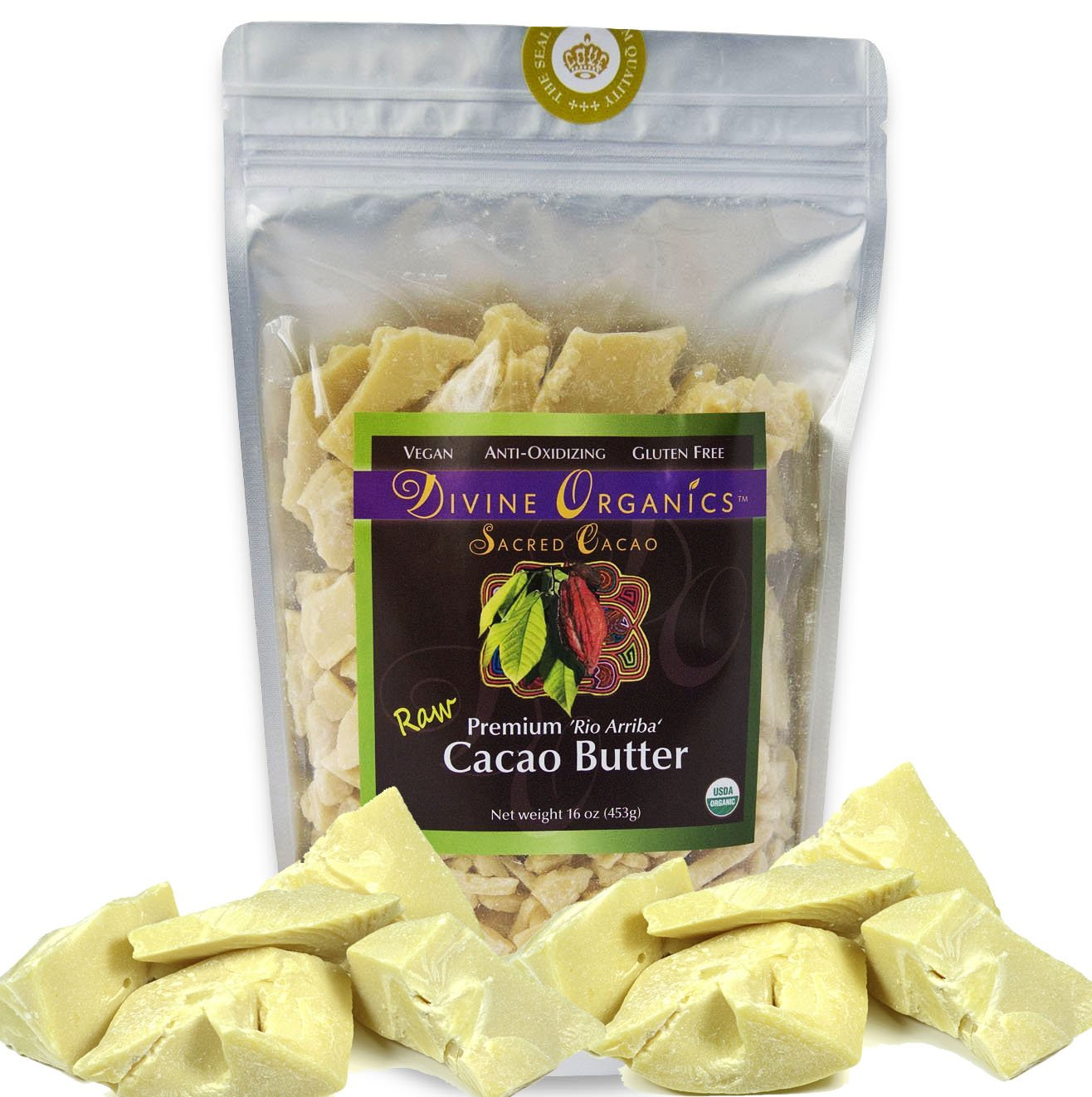 Divine Organics Raw Cacao Cocoa Butter - Certified Organic - Food Grade - Edible 16oz by Divine Organics (Image #1)