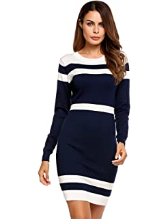 d8923220644 Beyove Women s Colorblock Striped Long Sleeve Cotton Knit Sweater Bodycon  Dress