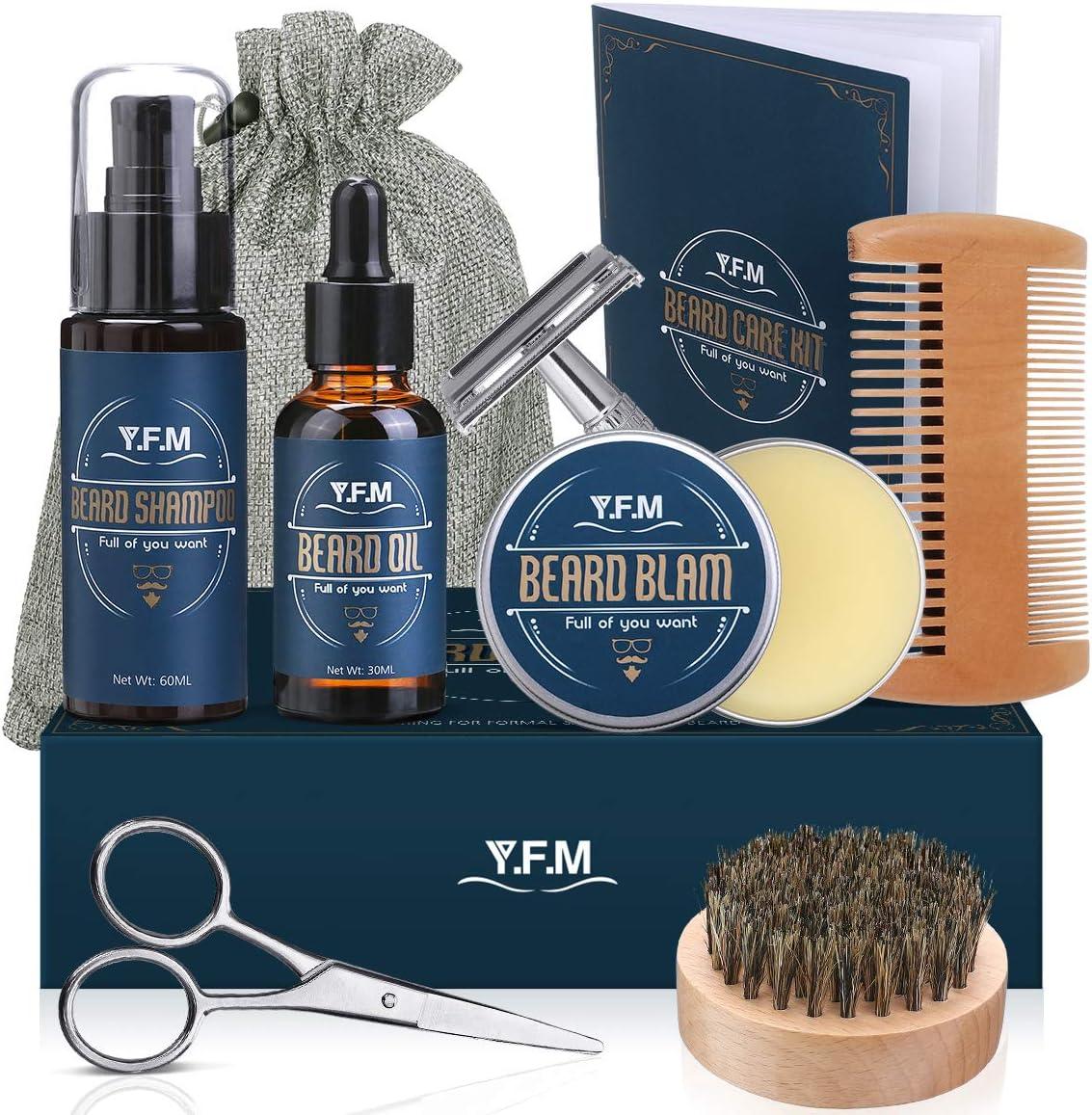 Y.F.M Kit de Cuidado de Barba para Hombres 8 en 1, Cuidado Barba - Champú, Aceite, Bálsamo de Barba, Peine, Afeitadora, Tijeras, Cepillo y Bolsa - Regalo Ideal para Todas Ocasiones y