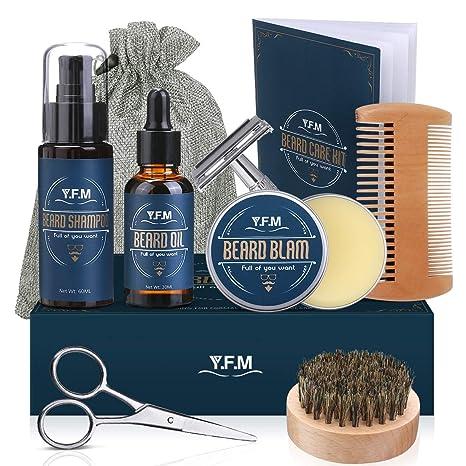 YFM Kit de Cuidado de Barba para Hombres 8 en 1, Cuidado Barba - Champú, Aceite, Bálsamo de Barba, Peine, Afeitadora, Tijeras, Cepillo y Bolsa - ...