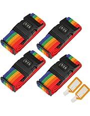 4 piezas Correas de equipaje, Ajustable Viajar Contraseña Bloquear Embalaje Cinturón Maleta equipaje Seguridad Correas