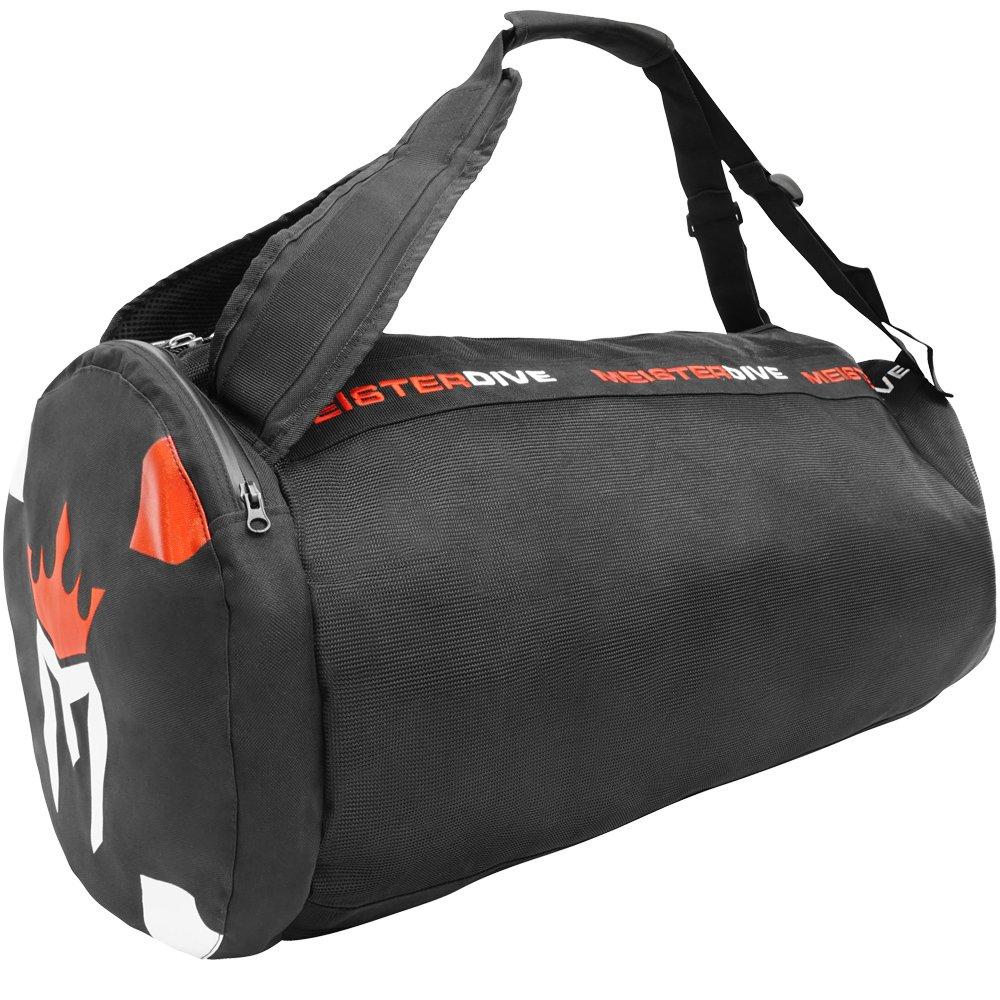 Meister Mesh Duffel Backpack Dive Bag w/Dry Pocket for Scuba & Snorkeling - Black by Meister