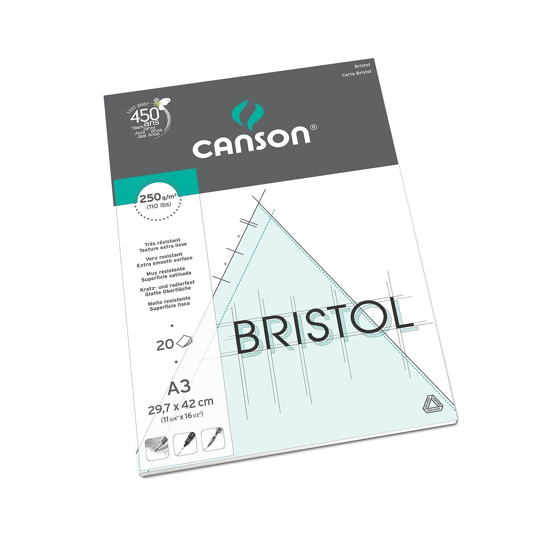 Canson - Carta da disegno Bristol Graphic Arts, 20 fogli, colore: bianco A3-29.7 x 42 cm Extra-White 200457121