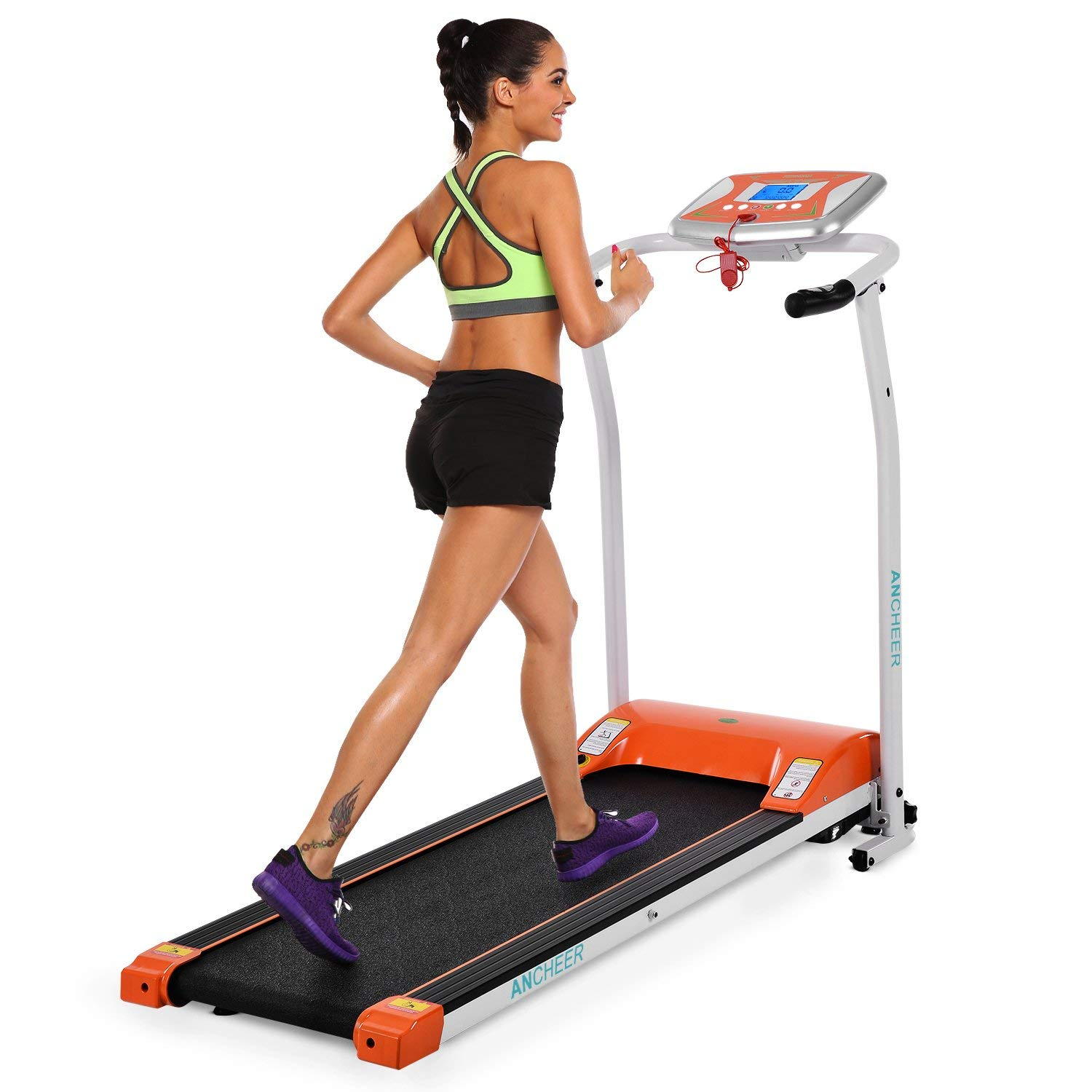 ANCHEER Folding Electric Treadmill, Easy Assembly Motorized Running Machine with Rolling Wheels (Orange)
