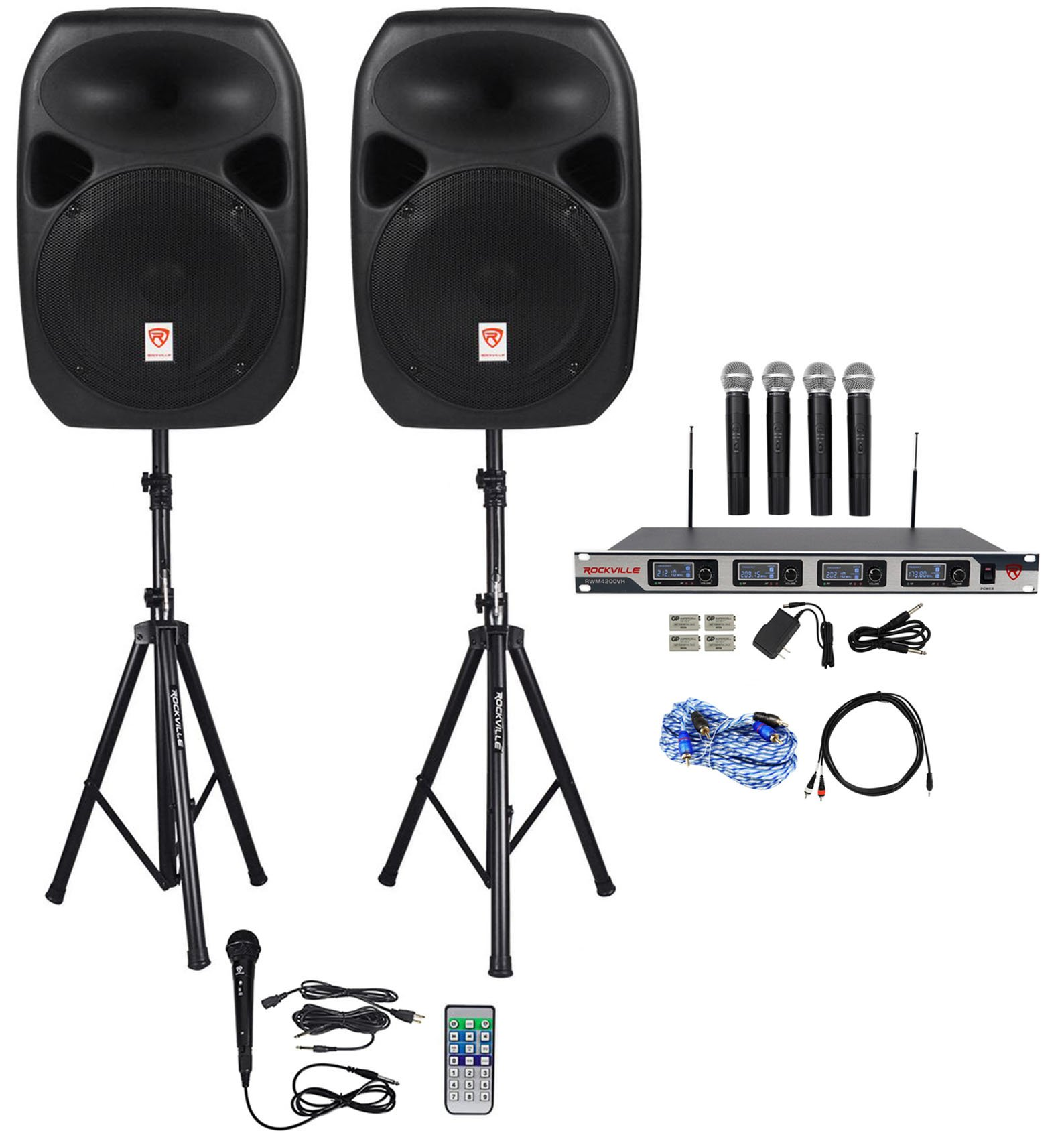 Rockville Dual 12'' Laptop/iphone/ipad/Android/TV Youtube Karaoke Machine/System