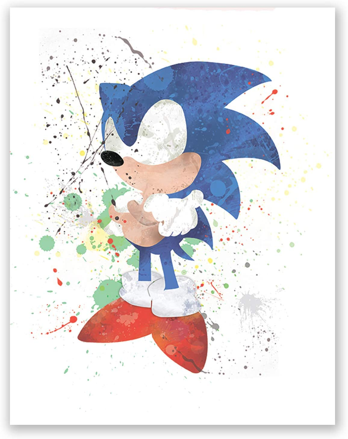 Super Sonic Adventure Hedgehog Poster - Decor Painting Paper for Boys – Classic Game Print - Nursery Art –- Wall Party Print (11x14)
