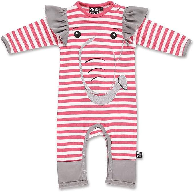 UBANG Baby M/ädchen Einteiler Overall Strampler Elefant mit Streifen in rot
