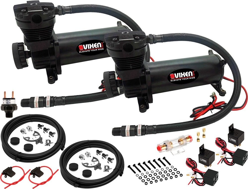 Vixen Air 200 PSI Heavy Duty Suspension/Air Ride/Bag/Train Horn Air Compressor/Pump with 3/8'' Braided Hose, 3/8'' NPT Check Valve and Remote Mount Air Filter Kit 12V Black (Dual Pack) VXC480BDP