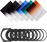 Neewer Graduated ND Filter Kit: (3)Graduated ND Filters, (3)Graduated Color Filters, (9)Metal Adapter Rings, (1)Square Filter Holder, (1)Filter Pouch
