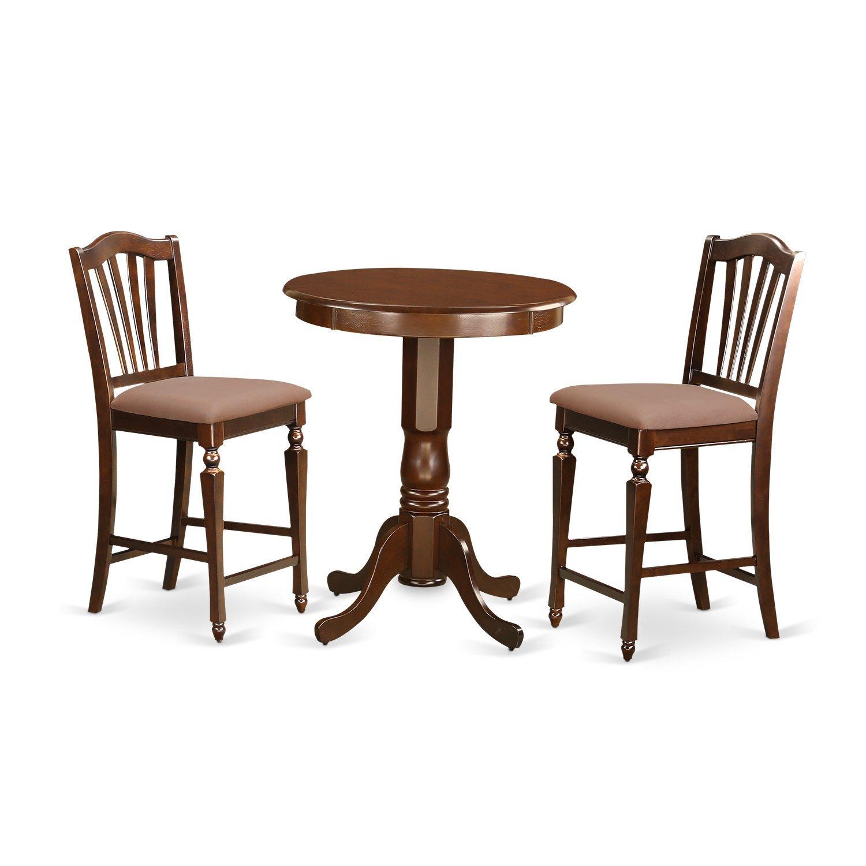 East West Furniture EDCH3-MAH-C 3 Piece Pub Table 2 Kitchen Chairs Set, Mahogany