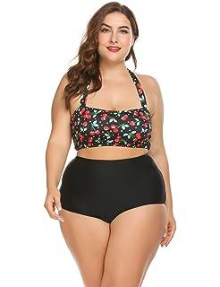 Keelied Damen Große Größen Vintage hoch taillierte Badeanzuege Bikini  Neckholder Swimwear 09bb6d6be7