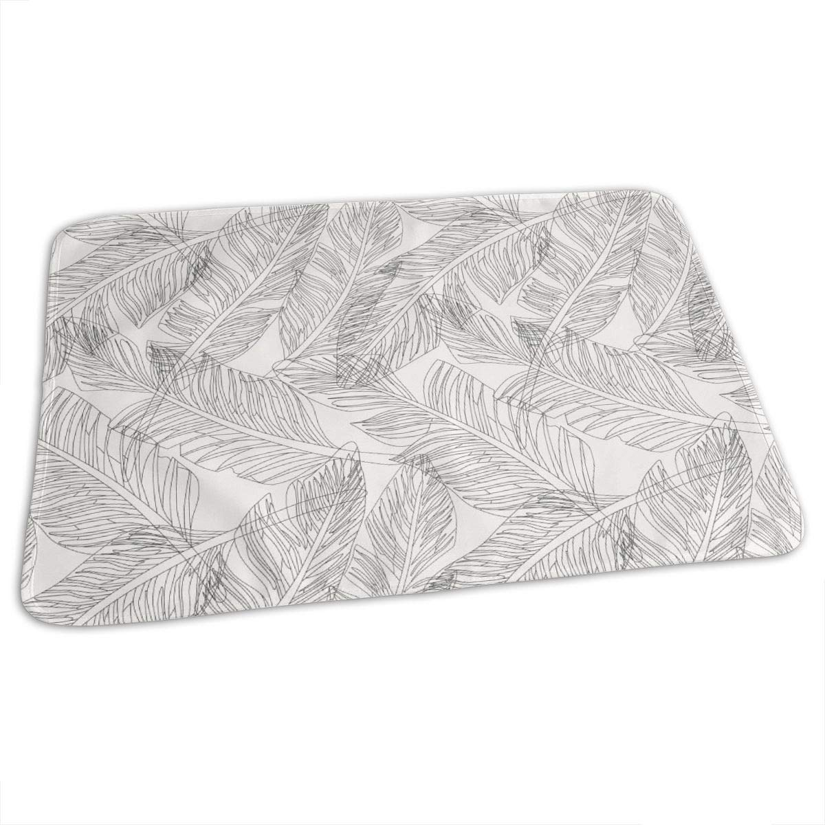GHJWEG Lovely Baby Reusable Waterproof Portable Outline Palm Leaves Changing Pad Home Travel 27.5''x19.7'' by GHJWEG