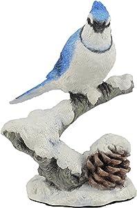 "US 4.75"" Blue Jay Bird on Snowy Branch Decorative Figurine, Multicolor"
