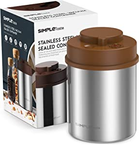 SIMPLETaste Coffee Canister, One-Piece Press Vacuum Sealed Storage Container, Airtight Stainless Steel Kitchen Food Jar with Date Tracker for Beans, Grounds, Tea, Cereal, Sugar, 16OZ