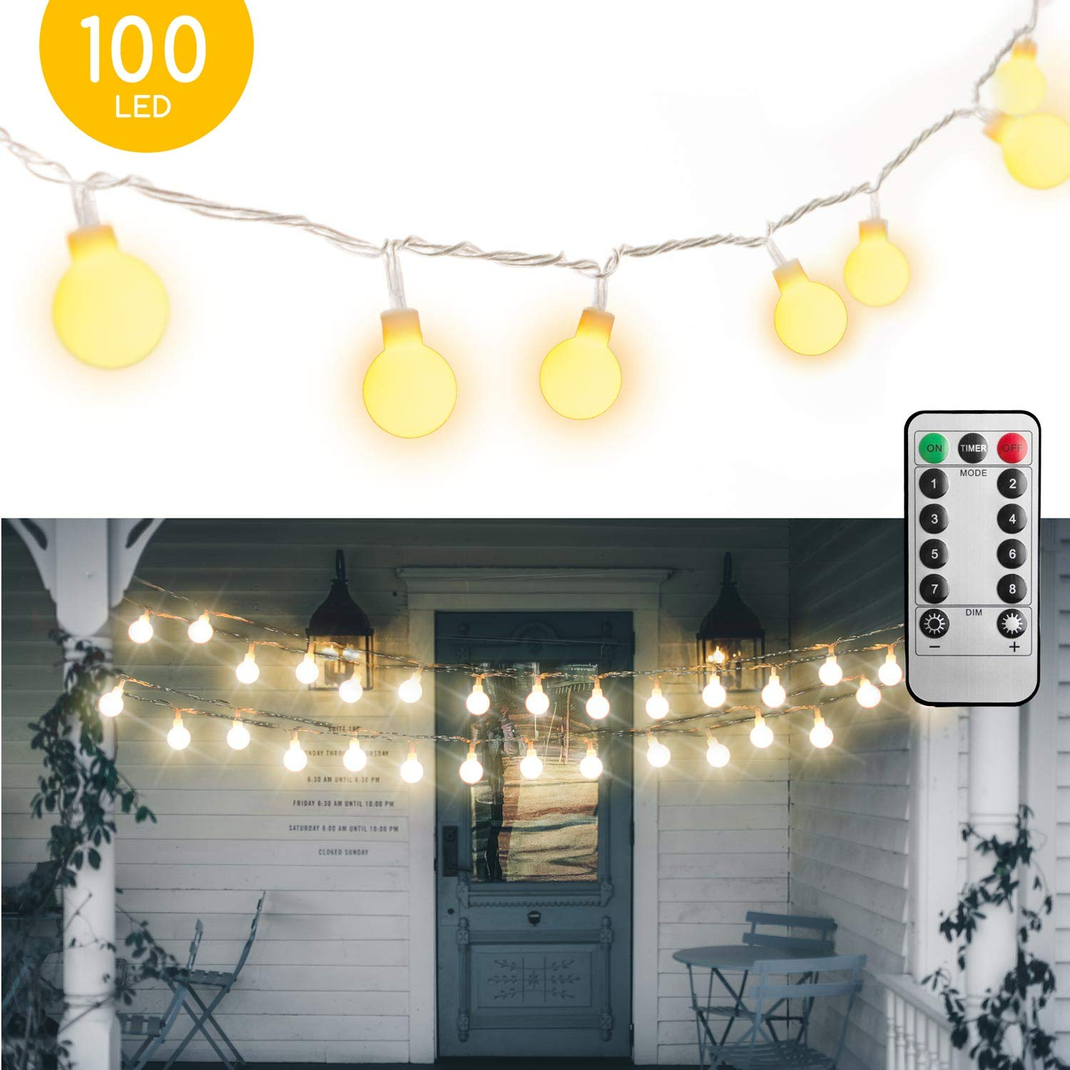 [Remote & Timer] 33Ft Globe String Lights 100LED Fairy Twinkle Lights with Remote 8 Modes Controller & UL Listed Adaptor Plug-for Patio/Party/Garden/Wedding Decor, Warm White