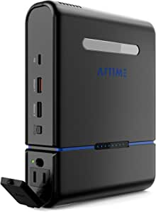 AFTIME Portable Charger Power Bank AC Outlet 3 Prong USB C 30000mAh 100W150W Max PD 60W Pure Sina Ware Emergency for Earthquake Tsunami Lithium Battery Backup Fast Charge for Laptop Phones Outdoors